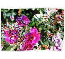 Spilt Paint on Flowers Poster