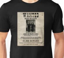 Jesse & Frank James Wanted Poster Unisex T-Shirt