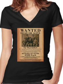 The Wild Bunch Wanted Poster Women's Fitted V-Neck T-Shirt