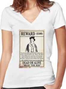 Billy the Kid Wanted Poster Women's Fitted V-Neck T-Shirt