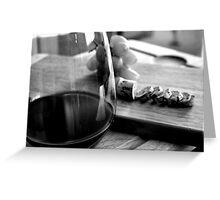 Sliced cork and wine Greeting Card