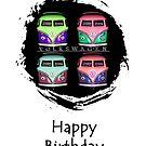 Pop Kombi Birthday Card by KellieBee
