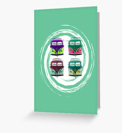 Pop Kombi Aqua Card Greeting Card