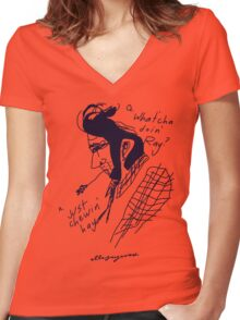 'What'cha doin' Ray?' Women's Fitted V-Neck T-Shirt