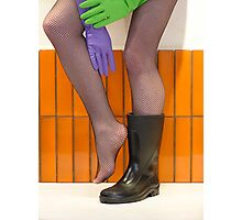 wellies and wubber gloves two Photographic Print