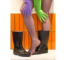 wellies and wubber gloves three Photographic Print
