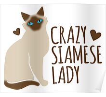 Crazy SIAMESE cat Lady Poster
