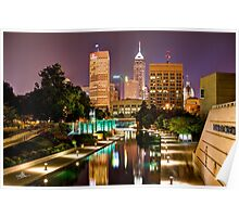 Indianapolis Skyline (Canal Walk Bridge View) Poster