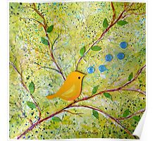 Cheerful Chirpy Songbird on a Beautiful Morning Poster