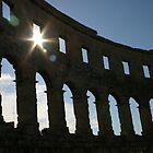 Colliseum in Pula, Croatia at sunset by Trish Hamilton