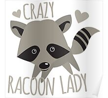 Crazy Racoon Lady Poster