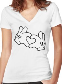 Mickey Heart Hands Women's Fitted V-Neck T-Shirt