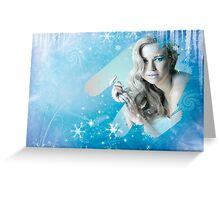 Snow Queen - Happy New Year & Merry Christmas postcard, wallpaper template Greeting Card