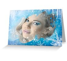 Snow Queen - Happy New Year & Merry Christmas postcard, wallpaper template 2 Greeting Card