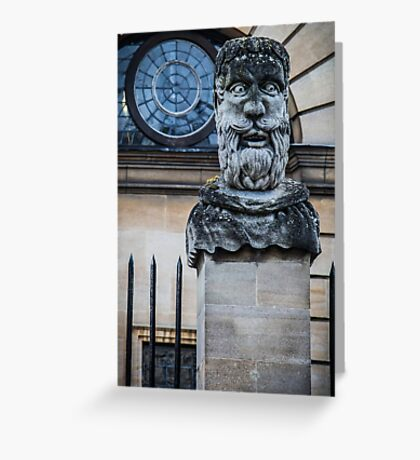 Comical Statue at Oxford University Greeting Card