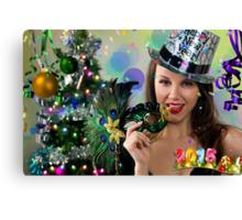 Sexy Santa's Helper -  Happy New Year postcard Wallpaper Template 1 Canvas Print