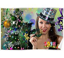 Sexy Santa's Helper -  Happy New Year postcard Wallpaper Template 1 Poster
