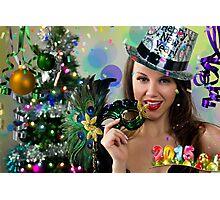 Sexy Santa's Helper -  Happy New Year postcard Wallpaper Template 1 Photographic Print