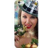 Sexy Santa's Helper -  Happy New Year postcard Wallpaper Template 2 iPhone Case/Skin