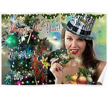 Sexy Santa's Helper -  Happy New Year postcard Wallpaper Template 2 Poster