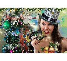 Sexy Santa's Helper -  Happy New Year postcard Wallpaper Template 2 Photographic Print