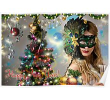 Sexy Santa's Helper -  Happy New Year postcard Wallpaper Template 3 Poster