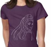 She-Ra Princess of Power (White Line Art) Womens Fitted T-Shirt