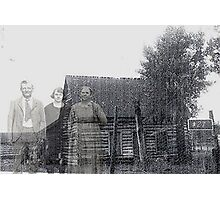 my great grandparents and the homestead Photographic Print