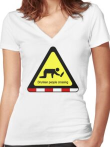 Drunken people crossing sign Women's Fitted V-Neck T-Shirt