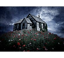 Little hut in a poppy field Photographic Print