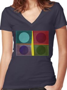 Squares and Circles Women's Fitted V-Neck T-Shirt