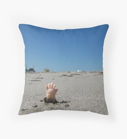 Zombie Baby Goes To The Beach Throw Pillow