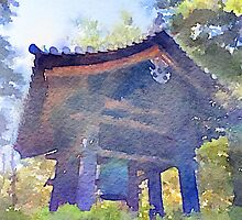Ancient Belfry Wooden Bell Tower in Nara Japan by Beverly Claire Kaiya