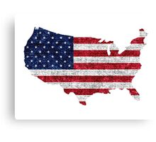 American Flag and Map Burlap Linen Rustic Jute Canvas Print