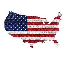 American Flag and Map Burlap Linen Rustic Jute Photographic Print