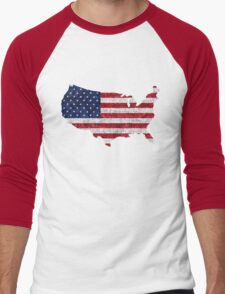 American Flag and Map Burlap Linen Rustic Jute Men's Baseball ¾ T-Shirt