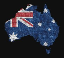 Australia Flag and Map Burlap Linen Rustic Jute by Nhan Ngo