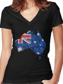 Australia Flag and Map Burlap Linen Rustic Jute Women's Fitted V-Neck T-Shirt