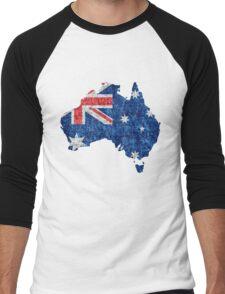 Australia Flag and Map Burlap Linen Rustic Jute Men's Baseball ¾ T-Shirt