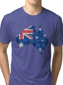 Australia Flag and Map Burlap Linen Rustic Jute Tri-blend T-Shirt