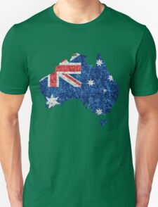 Australia Flag and Map Burlap Linen Rustic Jute T-Shirt