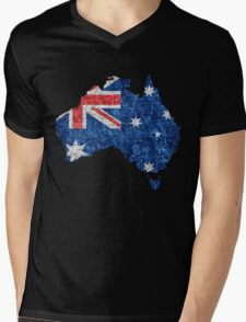 Australia Flag and Map Burlap Linen Rustic Jute Mens V-Neck T-Shirt
