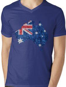 Australia Flag and Map Burlap Linen Rustic Jute Mens V-Neck T-Shirt
