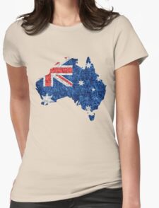 Australia Flag and Map Burlap Linen Rustic Jute Womens Fitted T-Shirt