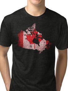 Canada Flag and Map Burlap Linen Rustic Jute Tri-blend T-Shirt