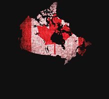 Canada Flag and Map Burlap Linen Rustic Jute Unisex T-Shirt