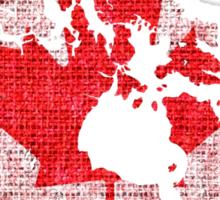 Canada Flag and Map Burlap Linen Rustic Jute Sticker