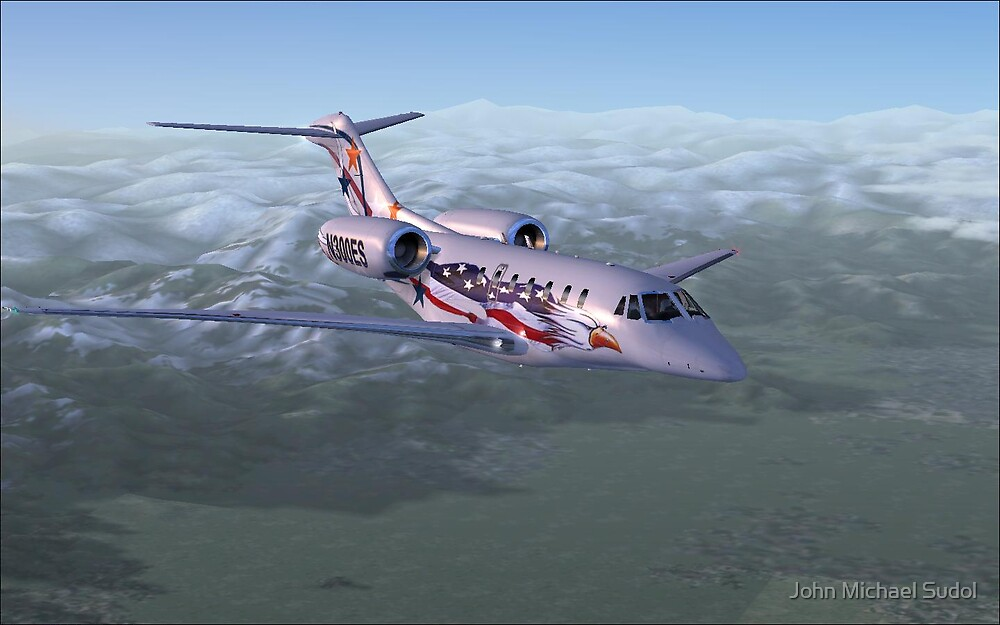 Citation X Descending Over Tuscany by John Michael Sudol