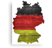 Germany Flag and Map Burlap Linen Rustic Jute Canvas Print