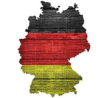 Germany Flag and Map Burlap Linen Rustic Jute Photographic Print